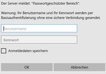 Passwortgeschützten Bereich in einer Website einrichten